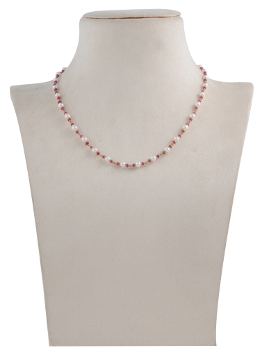 Pearls, Coral Beads Necklace in yellow gold