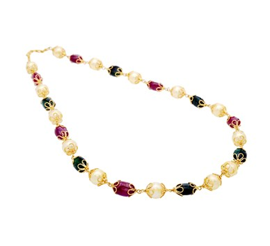 Ruby, Emerald & Pearl Studded Floral Bead Necklace