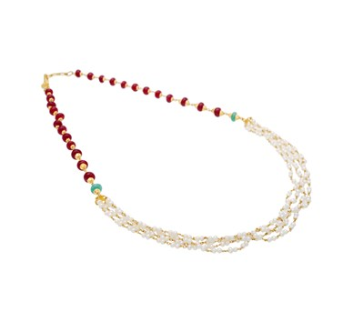 Pearl, Ruby & Emerald Beaded Multi-Strand Necklace