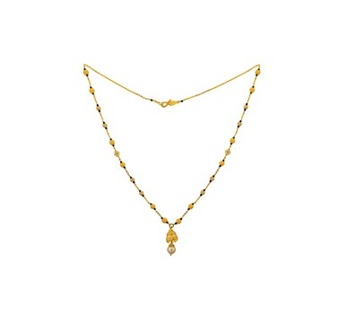 Gold Mangalsutra with black beads and  Cz pendant