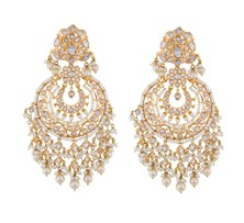 Gold with Diamond, Polki diamond and pearl Chandbali Earrings