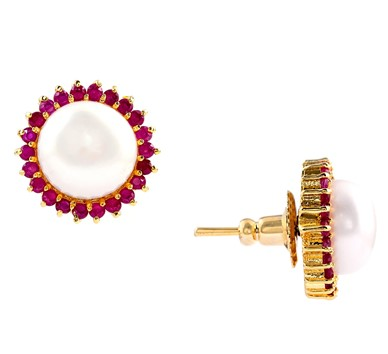 White pearls and Red Czs earstuds