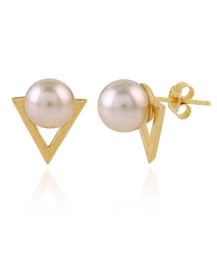 Pearls Earstuds in yellow gold polish